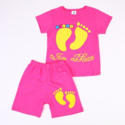 Cute Foot Print Top And Shorts Set - Dark Pink - Ton