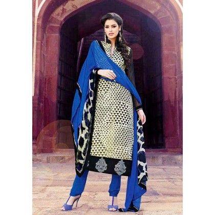 Black & Blue Georgette Dress Material - Afreen