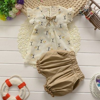 Beige Top And Shorts Set - Lil Mantra