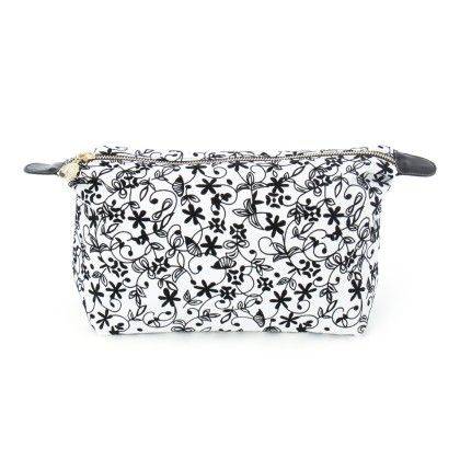 Large White And Black Floral Print Pouch - Veribest