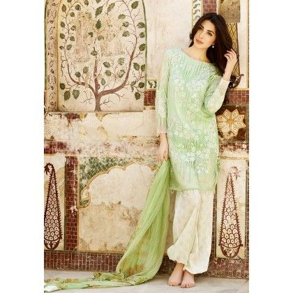 Beautiful Pakistani Style Printed Cotton Dress Material - Lime Green - Afreen
