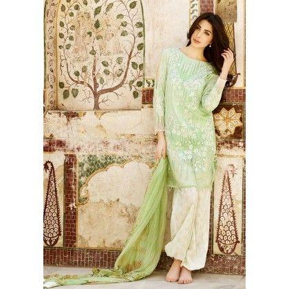 Beautiful Pakistani Style Printed Cotton Dress Material - Lime Green - Afreen