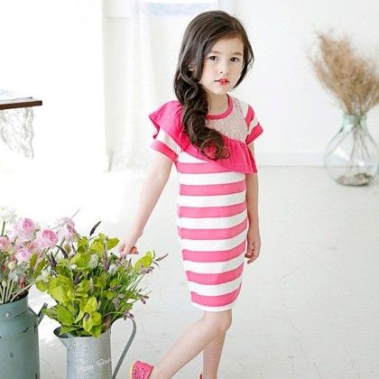 Pink With White Stripe  Summer Dress - Balloono