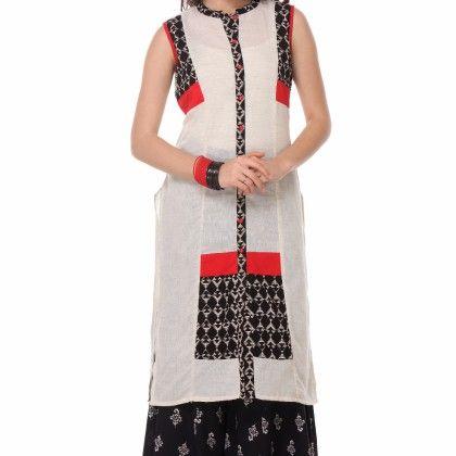 Black & White Printed Kurti - Riti Riwaz