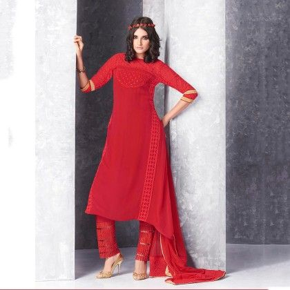 Red Embroidered Georgette Dress Material - Jashn