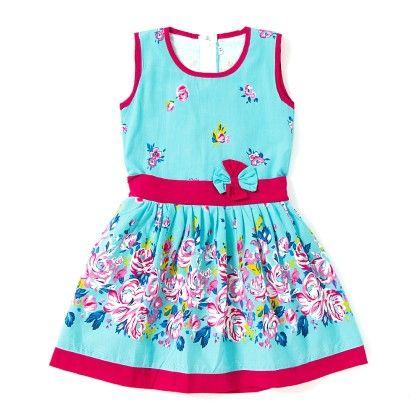Spring Floral Cotton Dress - Pastel Blue - BownBee