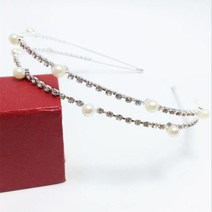 Silver Pearls And Stones Hair Band - Flaunt Chic