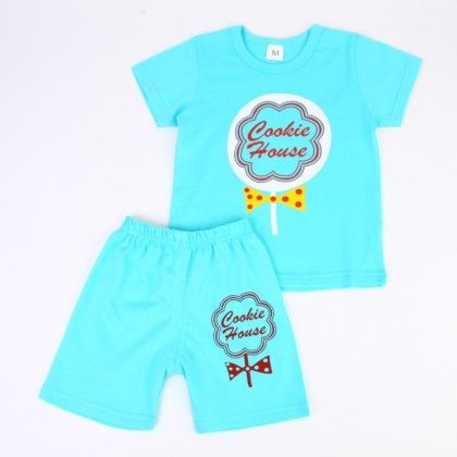 Cookie House Print Top And Shorts Set - Blue - Ton