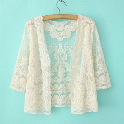 White 3-4 Sleeve Loose Beachwears - Dell's World
