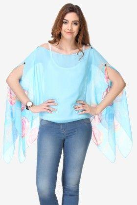 Varanga Printed Sky Blue Chiffon Butterfly Top