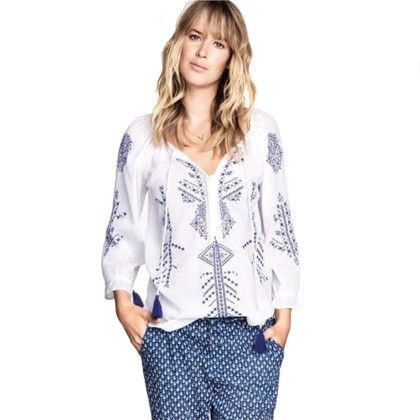 White & Blue Printed Top - Oomph