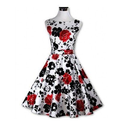 Black Floral Flared Dress - STUPA FASHION - 307122