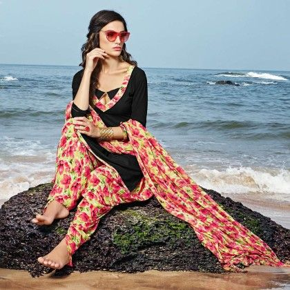 Black With Multicolor Salwar And Dupatta Dress Material - Balloono