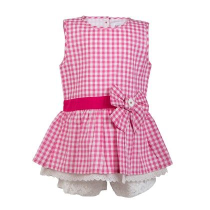 Gingham Chex Tunic With Bow & Lace At Hem Lace Shorts  -pink - Soul Fairy