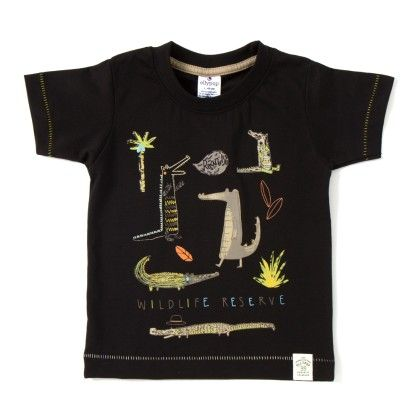 Wildlife Print Black Print T-shirt - Ollypop