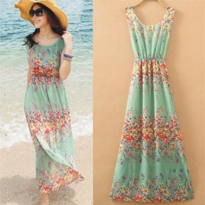Mint Floral Print Summer Long Dress - Dell's World