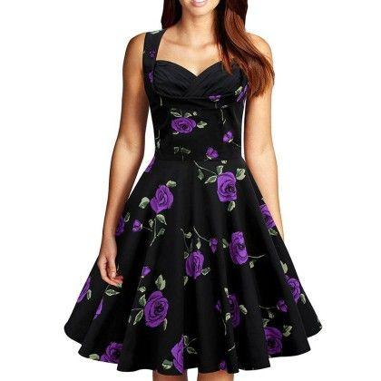 Purple Rose Flared Dress - STUPA FASHION