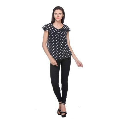 Black Polyster Printed Dot Top - Varanga