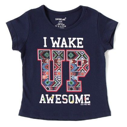 I Wake Up Printed Navy T-shirt - Do Re Me