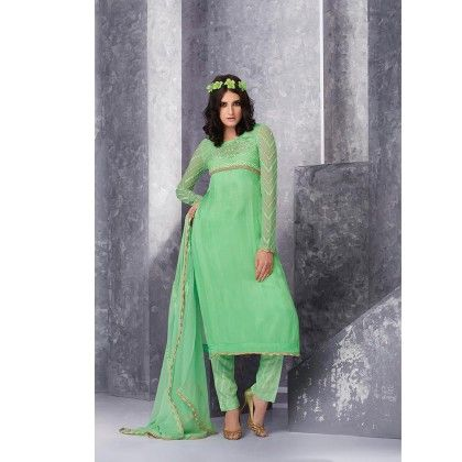 Pastel Green Embroidered  Dress Material - Jashn