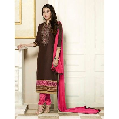 Brown Semistitched Embroidery Dress Material - Fabfella