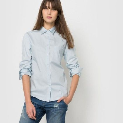 Blue Basic One Pocket Button Down Shirt - La Redoute