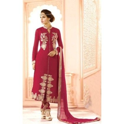 Exotic Pink Colored Ethenic Wear With Suit And Skirt - Balloono