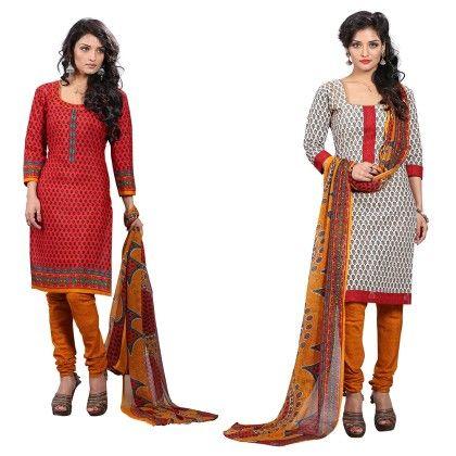 Dual Concept Of Cotton Jacquard Top With Matching Dupatta-2 Top  & 1 Bottom & 1 Duaptta- Multi - Varanga