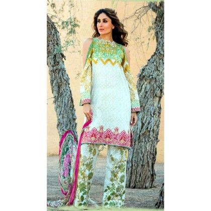 Faraz Manan Green Pink Semistitched Suit - Mauve Collection
