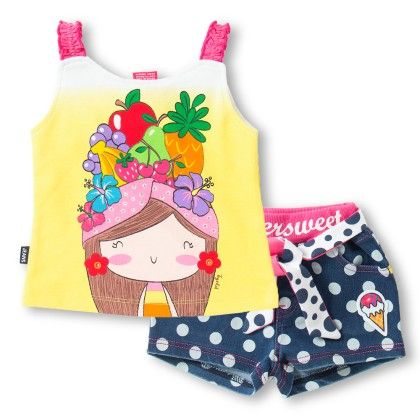 Girl's Face With Fruits Print Yellow T-shirt And Shorts Set - Toys