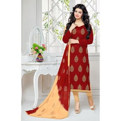 Red Semistitched Embroidery Dress Material - Fabfella - 306753
