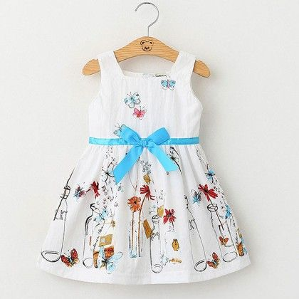 White Bottle Printed Frock - Lil Mantra