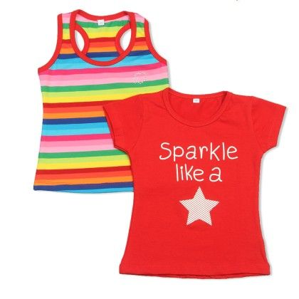 Red Sparkle Like A Star Printed T-shirt Sets - O'Carina