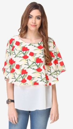Varanga Printed Off White-red Crepe Butterfly Top