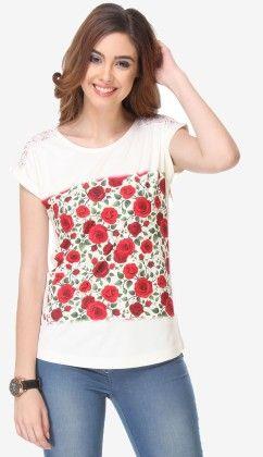 Varanga Printed Off White-red Knitted Top