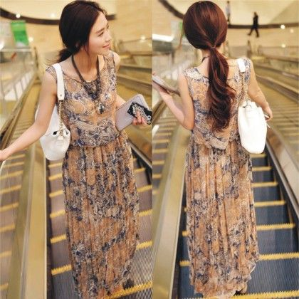 Beige Floral Print Summer Long Dress - Dell's World