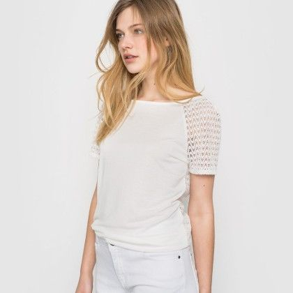 Ivory Back Lace Basic Top - La Redoute