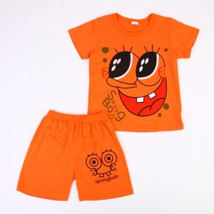 Funky Cartoon Print Top And Shorts Set - Orange - Ton