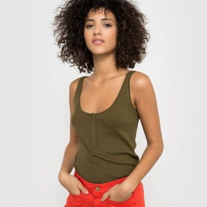Kaki Clair Buttoned Tank Top - La Redoute