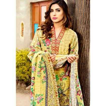Beautiful Pakistani Style Floral Printed Cotton Dress Material - Yellow - Afreen