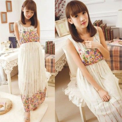 White Floral Print Summer Long Dress - Dell's World