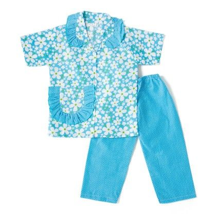Pretty Floral Print Night Suit - Sky Blue - BownBee