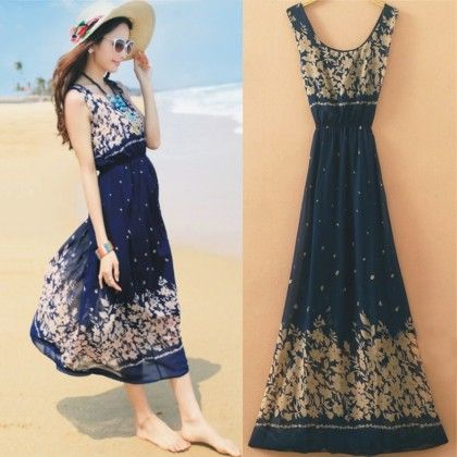 Persian Floral Summer Long Dress - Dell's World