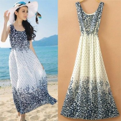 Leaves Print Summer Long Dress - Dell's World