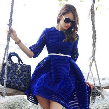 Blue Slim Fit Short Dress - STUPA FASHION