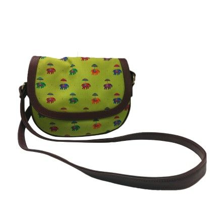 Leather Sling Bag Flying Elephant Green - The Elephant Company