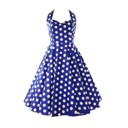 Blue Polka Dot Backless Dress - STUPA FASHION