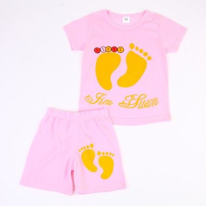 Cute Foot Print Top And Shorts Set - Pink - Ton