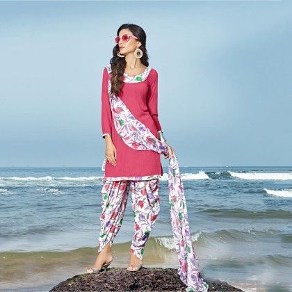 Courier Pink With Multicolor Salwar And Dupatta Dress Material - Balloono