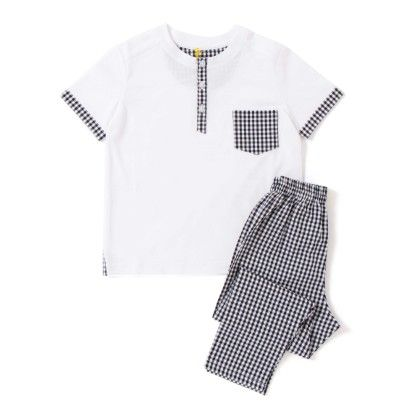 Nightwear T Shirt And Lower - White And Black - Growing Machine